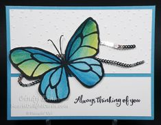 Beautiful Day, Occasions 2018, Stampin' Up!, Thinking of You, Butterfly, Watercolor, Brusho Crystals,