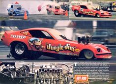 JUNGLE JIM Funny Car with the top end of the engine on the hood