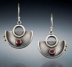 Garnet Half-Circle Dangles by Michele LeVett (Silver & Stone Earrings)   Artful Home