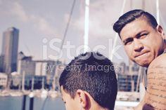 Polynesian Man and Boy royalty-free stock photo