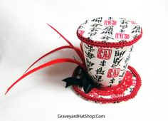 Red and Off White Chinese Character Tiny Top Hat par PaigeLavoie, $30,00