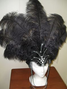 *TALL* Las Vegas Show Girl Sequin Feather Costume Headpiece Headdress Hat Crown | eBay