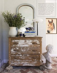 Love wood with chippy white paint