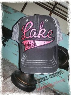 b92114b154b Custom Personalized LAKE Chick Mesh Baseball Bling Hat.  40.00