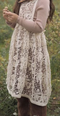 Apron, Dresses With Sleeves, Crochet, Simple, Long Sleeve, Fashion, Moda, Sleeve Dresses, Long Dress Patterns