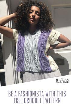 Crochet Blouse Patterns The Riviera Crochet Tee Free Pattern Crochet Summer Tops, Easy Crochet, Free Crochet, Crochet Tops, Crochet Sweaters, Modern Crochet, Tunisian Crochet, Black Crochet Dress, Crochet Blouse