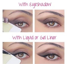"""Want the new liquid eyeliner and a """"wing"""" look but not sure how to get it... I LOVE this little trick-- Use a business card that is thick so you can wing your liner or shadow out! ⚡Tip: Do this trick first and pull the color into your crease & then apply Cream Shadow in Dainty!  ⚡For this taupe color -- use Palette #3!! PS the liquid eyeliner is amazing without the wing"""