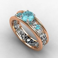 Ruby Jewelry Aquamarine engagement ring, filigree ring, rose gold, white gold, blue… Tomorrow's Talent at Garrard Long Jewelry Rings, Jewelry Accessories, Jewelry Design, Unique Jewelry, Jewlery, Gold Jewelry, Pretty Rings, Beautiful Rings, Filigree Engagement Ring
