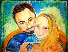 Sundown and her daughter Mia. His wife ordered this painted as a father's day gift, 2010  Painting is in Arizona