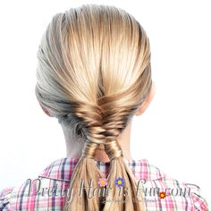 Pretty Hair is Fun: Fishtail Double Wrapped Ponytails hair; braids; hairstyles; updos; wedding; prom; homecoming; girls hairstyles; easy hairstyles
