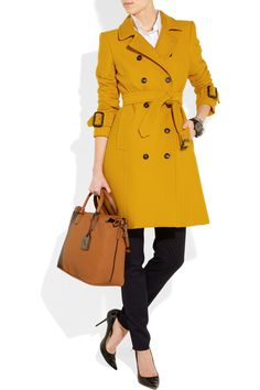 Burberry London Ribbed cotton and wool-blend trench coat  Be still my beating heart! #mustard #coat love <3