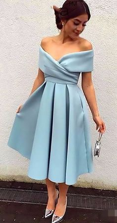 New Off-the-shoulder Party Dresses Baby Blue Satin Tea-Length Elegant Prom Dresses sky blue knee length off the shoulder formal dresses. Buy high quality discount fashion dresses from Yesbabyonline. Shipping worldwide, custom made all sizes & colors. Cheap Homecoming Dresses, Elegant Prom Dresses, A Line Prom Dresses, Prom Party Dresses, Evening Dresses, Occasion Dresses, Graduation Dresses, Satin Dresses, Tea Length Formal Dresses