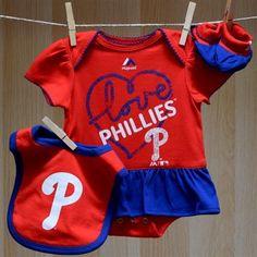 Phillies Baby Girl Fanatic Onesie Bib Booties