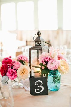 table number ideas http://www.weddingchicks.com/2013/09/23/rustic-pink-wedding-2/