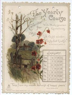 THE YEARLY COURSE CALENDAR FOR 1891 WITH SHAKESPEARIAN QUOTATIONS
