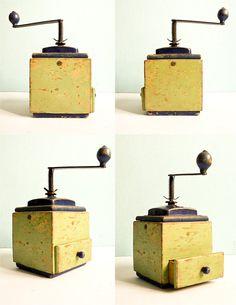 Vintage wooden coffee mill grinder
