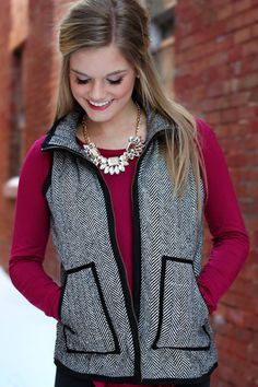 Must-Have Herringbone Vest | UOIOnline.com: Women's Clothing Boutique