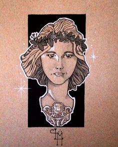 #tonedpaper #art #drawing #instaart #illustration #artnouveau #portrait #artist #sketch #highlights #necklace #princess #ink #pencils