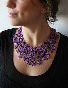 Items similar to Purple Hand Crochet Necklace on Etsy Crochet Jewelry Patterns, Beaded Jewelry Designs, Bracelet Patterns, Handmade Jewelry, Thread Crochet, Crochet Crafts, Hand Crochet, Lace Necklace, Crochet Necklace