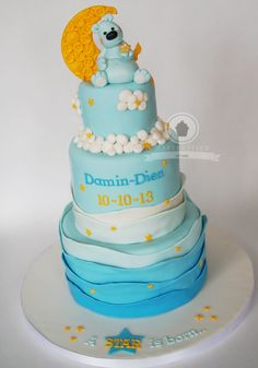 Baby Boy Cake/Baby Shower Cake/Welcome Baby Cake/Stars Moon Cake/Teddy Cake/Button Cake