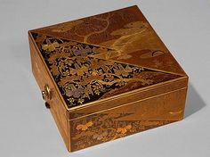 Stationery box, Momoyama period (1573–1615), early 17th century  Japan  Lacquer, with sprinkled gold decoration in Kodaiji style, inlaid with gold and silver foil.