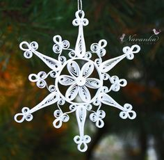 Pure White Paper Quilled Snowflake Ornament by NavankaCreations, $15.99