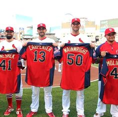 Congratulations to the 2014 St. Louis Cardinals All-Stars. (Just wish Yadi could have started, as planned. St Louis Baseball, St Louis Cardinals Baseball, Stl Cardinals, Cardinals News, Baseball Caps, Cardinals Players, Mlb Teams, Great Team, Going Crazy