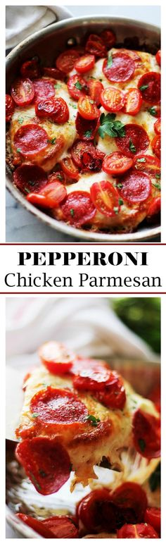 Pepperoni Chicken Parmesan | www.diethood.com |  Delicious and easy Pepperoni Chicken Parmesan made with panko crumbs, cheese, pepperoni and tomatoes.  Seriously delicious!!
