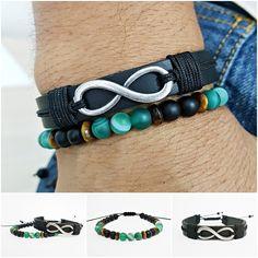 Kit 2 Pulseiras Masculinas Couro Infinito Pedra Agata Verde mens bracelets fashion style cocar brasil