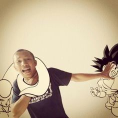 Me vs Frieza & Goku illustration. Dragon ball Z. Real world vs digital illustration