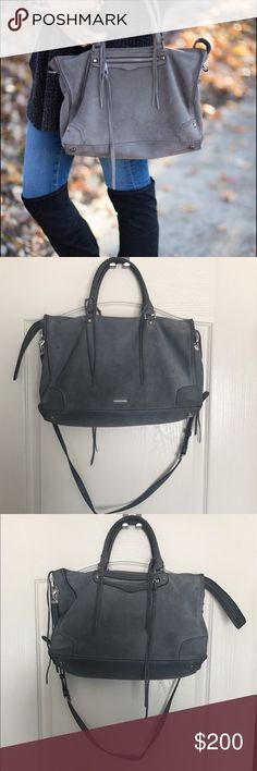 🌞Rebecca Minkoff Regan Satchel tote Large Regan satchel tote. Color: Denim (is describe it as dusty blue) this is made from the softest leather! Comes with replacement tassels, tags and card. No rips, or holes. See pics (pinch to zoom) to see imperfections (spot on front, possibly watermarks on bottom) I did not try cleaning it. Open to offers!! Rebecca Minkoff Bags Satchels