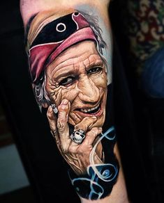 35  Gorgeous Portrait Tattoo Art Design:Keith Richards Tattoo, Those Nobly Fingers Beautifully Solid As A Rock