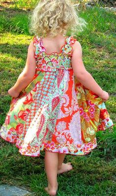 Love the vertical. Girls Twirly Dress made with gorgeous Amy Butler fabric.