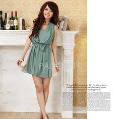 Asian Summer Fashion V-Neck Chiffon Sleeveless Dresses