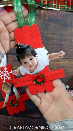 Make fun sledding popsicle stick ornaments with your childs face on it! fun christmas craft for kids to make for gifts cute christmas art project popsicle stick sled diy project keepsake for parents or family! Christmas Gifts For Parents, Christmas Crafts For Kids To Make, Diy Christmas Ornaments, Xmas Crafts, How To Make Ornaments, Craft Stick Crafts, Diy Christmas Gifts, Kids Christmas, Fun Crafts