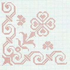 Folk motifs for embroidery or crochet These motifs were once used for mooring small crosses on a cotton canvas or crochet. Cross Stitch Borders, Cross Stitch Rose, Cross Stitch Flowers, Cross Stitch Designs, Cross Stitching, Cross Stitch Embroidery, Cross Stitch Patterns, Hardanger Embroidery, Knitting Charts