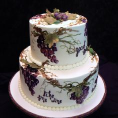 Good Friends, Good Food, Good Wine - This was really a birthday cake, but I think it would make a nice anniversary cake, too! Sharon's buttercream with hand painted grape vines. Fondant leaves and grapes to add dimension. CSM:TFL!