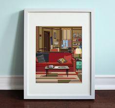 Apartamento de Ted - cómo conocí a vuestra madre, impresión del arte de HIMYM, comedia de TV