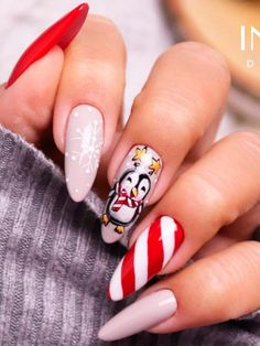 Christmas Nail Designs, Christmas Nails, Acrylic Nail Designs, Acrylic Nails, Penguin Nail Art, Winter Nails, Manicure, Pretty, Instagram
