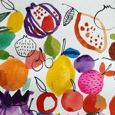 Fruit detail. #fruit #watercolor #paint by carolynj