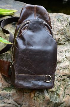 Leather Chest Bag Cross-body Shoulder Bag Backpack Brown Retro Men Or Women
