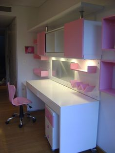 Escritorio para hermanos blanco y rosa Study Room Decor, Teen Room Decor, Diy Room Decor, Bedroom Decor, Small Room Bedroom, Small Rooms, Bedroom Cupboard Designs, Kids Bedroom Designs, Bedroom Cupboards