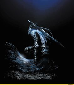 The values all across Abysswalker Artorias's body are similar, such as the reflection of light across his his armor and the silkiness of the cloth below his waist. In addition, his motion seems to be captured in time with the way his cloth and hair form irregular curved lines that give him momentum.