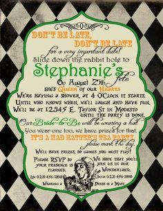 Printable Alice in Wonderland  Invitation or Save the Date, Alice in Wonderland Save the Date. $12.00, via Etsy.