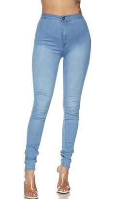 Super High Waisted Stretchy Denim Jeans in Light Blue (S-XL) High Waisted Flares, High Waist Jeans, Denim Skinny Jeans, Distressed Skinny Jeans, Skins Leggings, Jeans Brands, Jeans Style, Soho, Light Blue