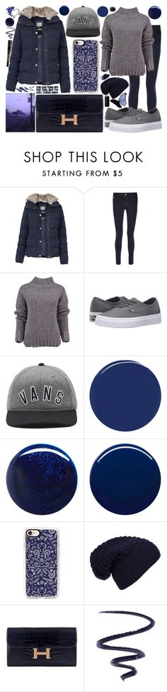 """""""navy blue. puffer jacket."""" by icy-frappe ❤ liked on Polyvore featuring Fat Face, STELLA McCARTNEY, Lowie, Vans, RGB Cosmetics, RGB, Nails Inc., Casetify, WithChic and Hermès"""