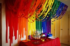 Great decorative idea using a ton of colorful streamers! Rainbow or art party. Streamer Decorations, Rainbow Decorations, Party Streamers, Decorating With Streamers, Streamer Ideas, Birthday Streamers, Streamer Backdrop, Rainbow Party Decorations, Cheap Party Decorations