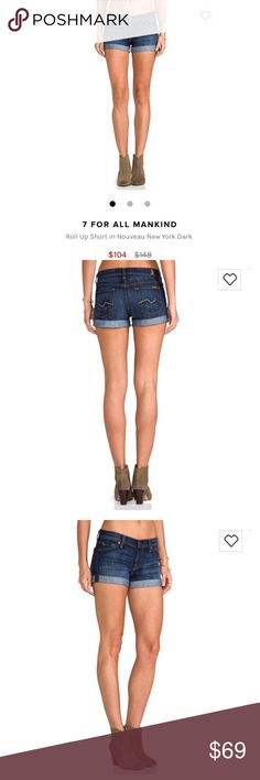 7 For All Mankind Roll Up Short in Nouveau NewYork 7 For All Mankind Roll Up Short in Nouveau New York Dark  Size 24 They are like new 7 For All Mankind Shorts Jean Shorts
