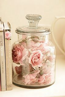 pink roses in jar - I LOVE this idea.
