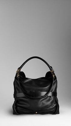 BURBERRY Medium Bridle Leather Hobo Bag Color: Black